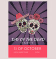 day of the dead party poster template with two vector image