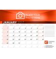 Desk Calendar for 2017 Year January Design Print vector image