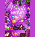 detox color diet poster for purple food day menu vector image vector image