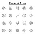 firework icons set in thin line style vector image