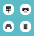 flat icons printer datacenter controller and vector image