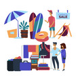 garage sale beach items and clothes customers vector image
