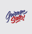 garage sale hand lettering typography vector image vector image