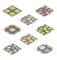 garden or farm isometric tile set - walk paving vector image