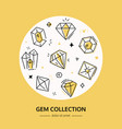 gem and diamond collection - line design style vector image vector image