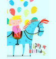 girl riding horse with balloons greeting card vector image
