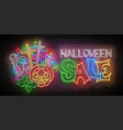 glow halloween greeting card with pumpkin cross vector image vector image