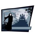 Grim reaper with Halloween sign