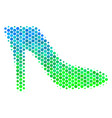 halftone blue-green lady shoe icon vector image