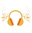 headset stereo sound with swirls and musical notes vector image