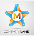 letter m logo symbol in the colorful star on grey vector image vector image