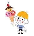 little boy eating ice cream cone vector image
