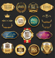 luxury retro badges gold and silver collection 3 vector image vector image