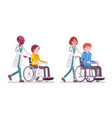 male and female doctor with wheelchair patient vector image vector image