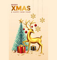 merry christmas greeting card 3 vector image vector image