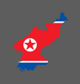 north korea map and flag vector image