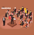 orchestra musicians isometric composition vector image vector image