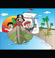 parrot on pirates boat vector image