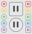 pause icon sign symbol on the Round and square vector image