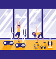 people in sport gym isolated icon vector image
