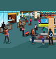 people inside airport scene vector image vector image