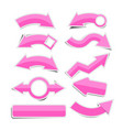 pink paper arrow stickers with shadows vector image vector image