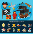 pirate icons cartoon collection vector image vector image