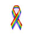 realistic lgbt ribbon rainbow ribbon lgbt support vector image vector image