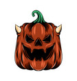 red monster pumpkin with little horn vector image vector image