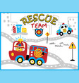 rescue team cartoon with funny firefighter vector image