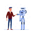 robot and human shaking hands vector image