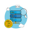 router with bicoin and digital icons concept vector image vector image