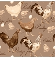 seamless cocks and hens vector image vector image