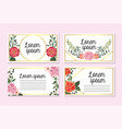 set cards with roses and flowers with branches vector image vector image
