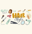 set icons hair styling theme curly iron comb vector image