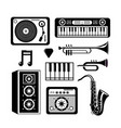 set music festival with professional instruments vector image vector image