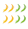 set of bananas and platanos with glasses vector image