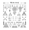 Set of boho line elements vector image vector image