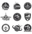 Set of retro and modern space travel badges vector image