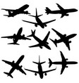 set of silhouettes of planes from different eras vector image vector image