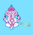 shubh ganesh chaturthi greeting card to indian vector image vector image