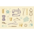 Sketches of tools and materials for sewing and vector image vector image