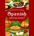 spanish cuisine restaurant food meat and fish vector image vector image