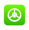 steering wheel icon digital green vector image