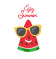 summertime poster with watermelon slice vector image vector image