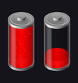 transparent glass battery low charging red color vector image vector image