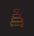valentines heart cake icon design vector image vector image