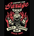 vintage shirt design custome car garage vector image vector image