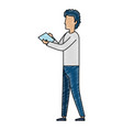 young man working with documents vector image vector image