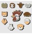 Cute origami animals stickers icon set vector image